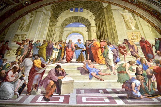 バチカン美術館のラファエロ絵画「アテネの学堂」