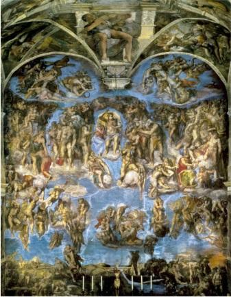 システィーナ礼拝堂のミケランジェロ作「最後の審判」